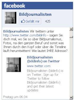 Hier sehen Sie eine so genannte Facebook-Box, die allerdings nicht aktiv ist, sondern nur als Bilddatei abgebildet wird, um Abmahnungen oder datenschutzrechtliche Bedenken zu zerstreuen. Wenn Sie drauf klicken, werden Sie zu Facebook weitergeleitet